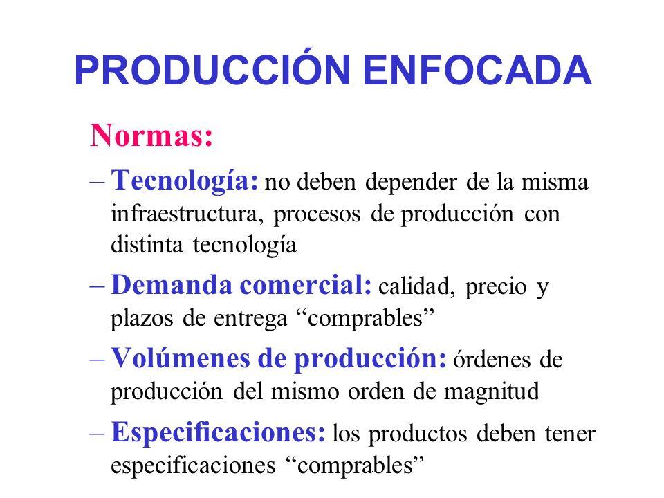 PRODUCCIÓN ENFOCADA Normas: –Tecnología: no deben depender de la misma infraestructura, procesos de producción con distinta tecnología –Demanda comerc