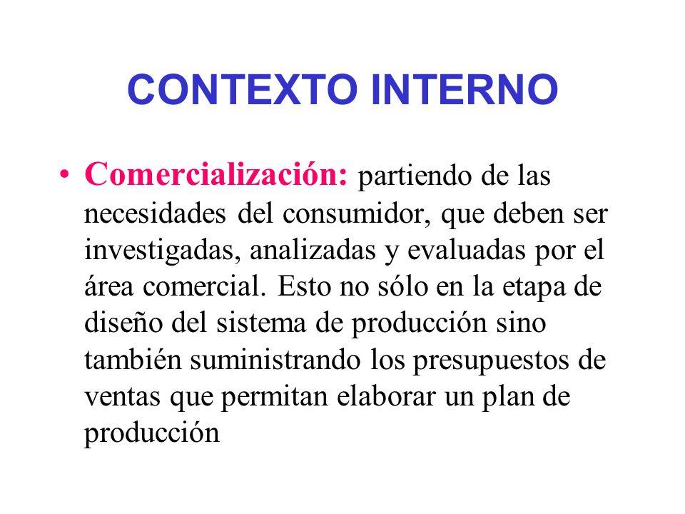 CONTEXTO INTERNO Comercialización: partiendo de las necesidades del consumidor, que deben ser investigadas, analizadas y evaluadas por el área comerci