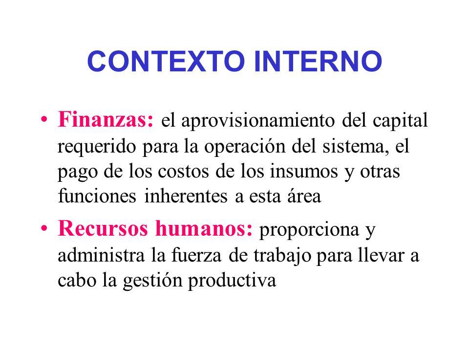 CONTEXTO INTERNO Finanzas: el aprovisionamiento del capital requerido para la operación del sistema, el pago de los costos de los insumos y otras func