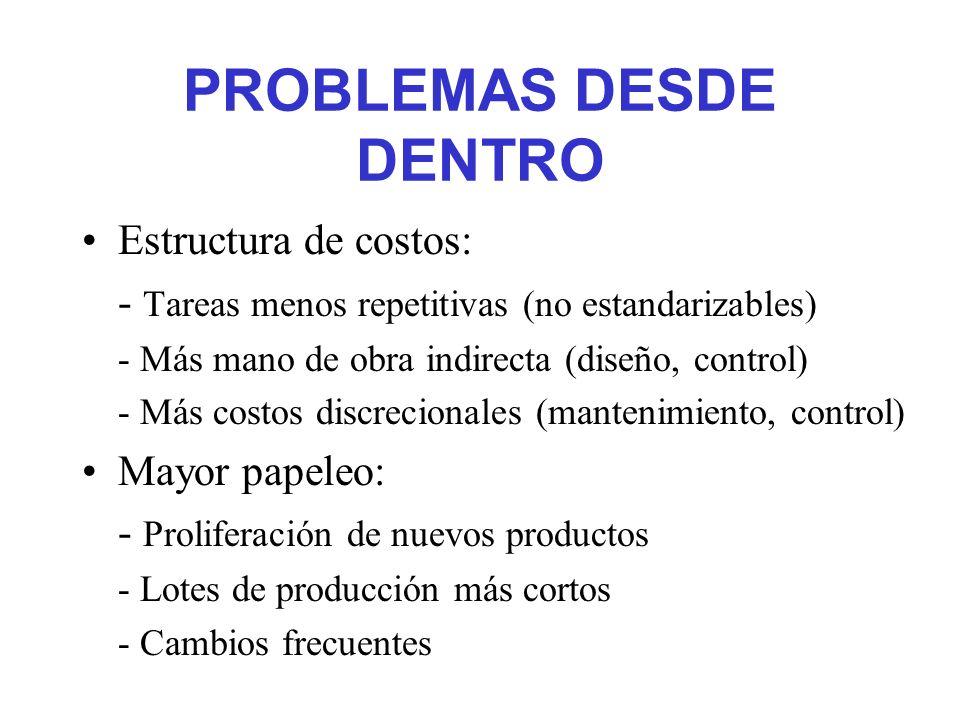 PROBLEMAS DESDE DENTRO Estructura de costos: - Tareas menos repetitivas (no estandarizables) - Más mano de obra indirecta (diseño, control) - Más cost