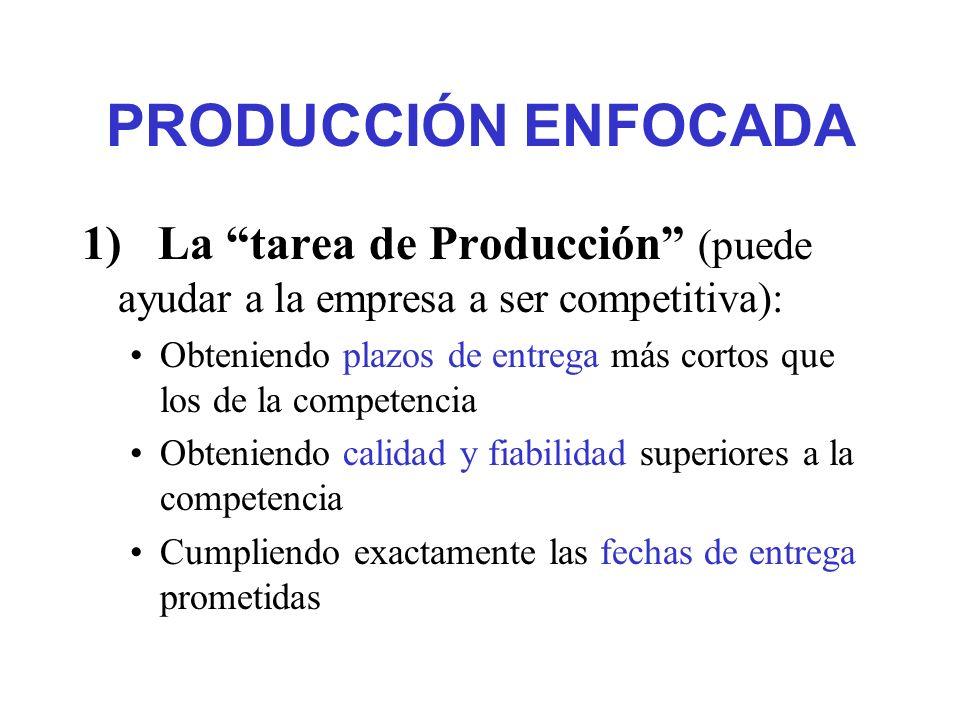 PRODUCCIÓN ENFOCADA Teniendo gran facilidad para introducir productos nuevos Teniendo gran facilidad para ajustarse a los cambios de volúmenes de producción, motivados por fluctuaciones de la demanda Requiriendo una inversión relativamente baja Obteniendo costos de producción relativamente bajos