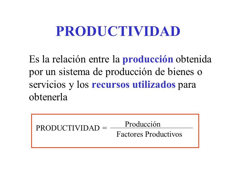 Es la relación entre la producción obtenida por un sistema de producción de bienes o servicios y los recursos utilizados para obtenerla PRODUCTIVIDAD