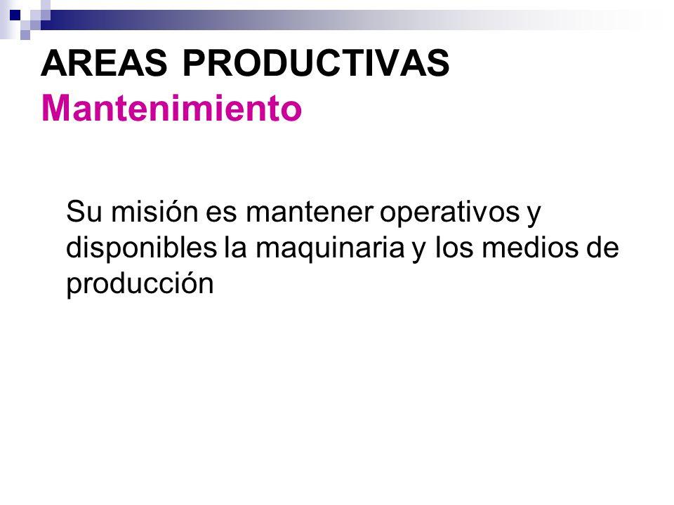 AREAS PRODUCTIVAS Mantenimiento Su misión es mantener operativos y disponibles la maquinaria y los medios de producción
