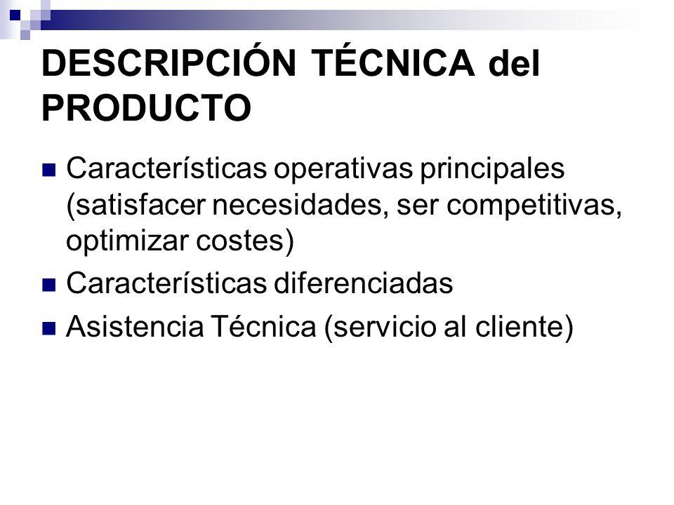 DESCRIPCIÓN TÉCNICA del PRODUCTO Características operativas principales (satisfacer necesidades, ser competitivas, optimizar costes) Características d