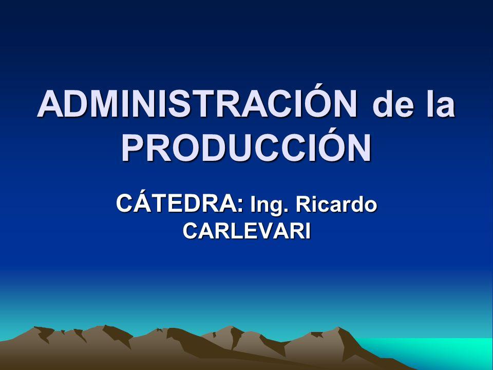 ADMINISTRACIÓN de la PRODUCCIÓN CÁTEDRA: Ing. Ricardo CARLEVARI