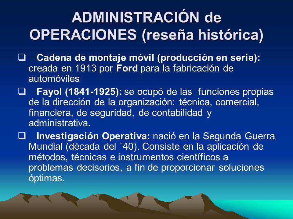 ADMINISTRACIÓN de OPERACIONES (reseña histórica) Cadena de montaje móvil (producción en serie): creada en 1913 por Ford para la fabricación de automóv