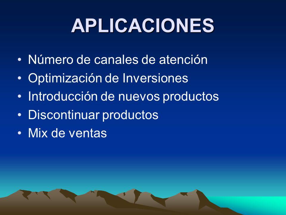 APLICACIONES Número de canales de atención Optimización de Inversiones Introducción de nuevos productos Discontinuar productos Mix de ventas