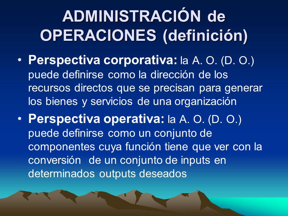 ADMINISTRACIÓN de OPERACIONES (definición) Perspectiva corporativa: la A. O. (D. O.) puede definirse como la dirección de los recursos directos que se