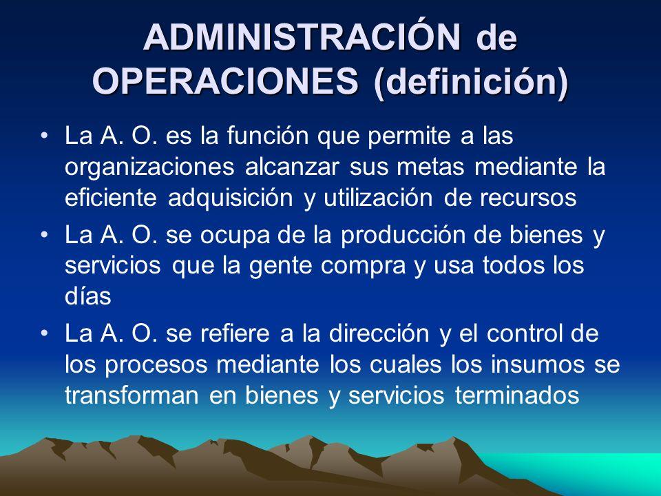ADMINISTRACIÓN de OPERACIONES (definición) Los administradores de operaciones son los responsables de la producción de los bienes o servicios de las organizaciones Los administradores de operaciones toman decisiones que se relacionan con la función de operaciones y los sistemas de transformación que se utilizan La administración de operaciones es el estudio de la toma de decisiones en la función de operaciones