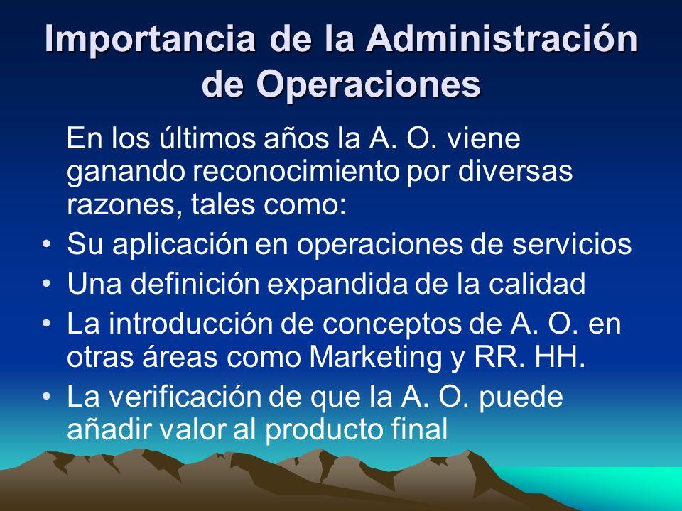 Importancia de la Administración de Operaciones En los últimos años la A. O. viene ganando reconocimiento por diversas razones, tales como: Su aplicac