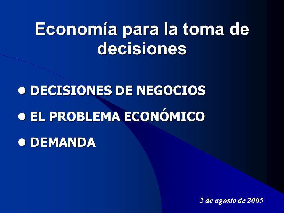 Economía para la toma de decisiones DECISIONES DE NEGOCIOS DECISIONES DE NEGOCIOS EL PROBLEMA ECONÓMICO EL PROBLEMA ECONÓMICO DEMANDA DEMANDA 2 de ago
