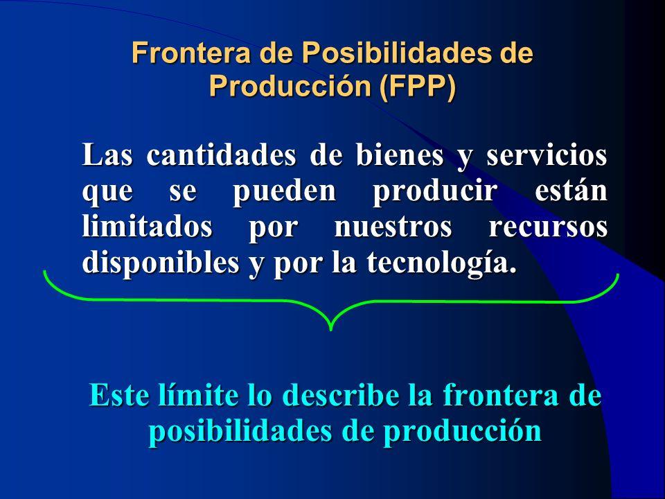 Frontera de Posibilidades de Producción (FPP) Las cantidades de bienes y servicios que se pueden producir están limitados por nuestros recursos dispon