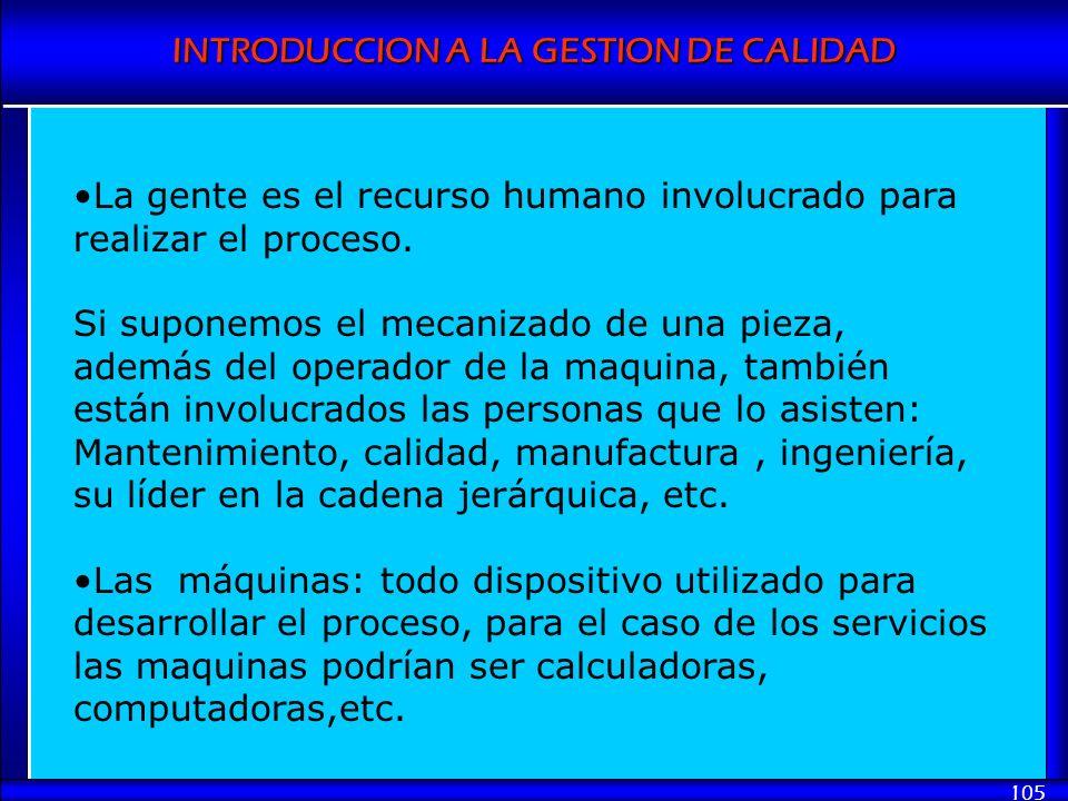 INTRODUCCION A LA GESTION DE CALIDAD 105 La gente es el recurso humano involucrado para realizar el proceso. Si suponemos el mecanizado de una pieza,