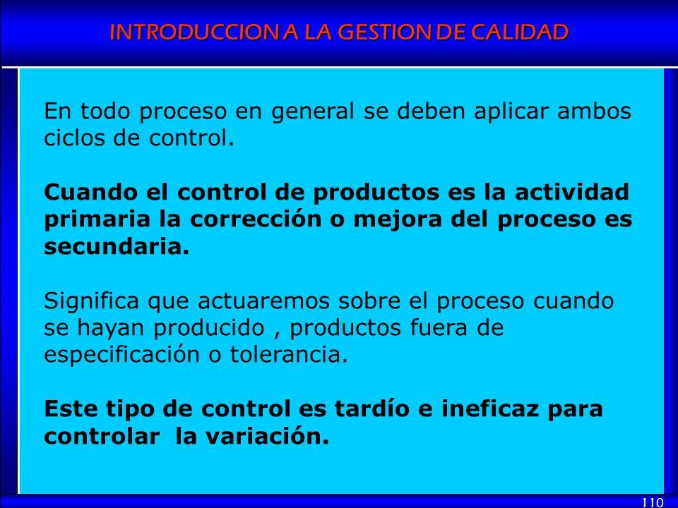 INTRODUCCION A LA GESTION DE CALIDAD 110 En todo proceso en general se deben aplicar ambos ciclos de control. Cuando el control de productos es la act