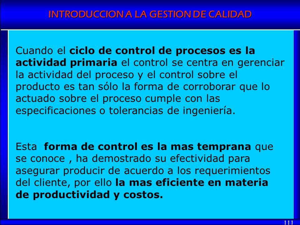 INTRODUCCION A LA GESTION DE CALIDAD 111 Cuando el ciclo de control de procesos es la actividad primaria el control se centra en gerenciar la activida