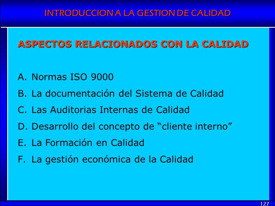 INTRODUCCION A LA GESTION DE CALIDAD 127 ASPECTOS RELACIONADOS CON LA CALIDAD A.Normas ISO 9000 B.La documentación del Sistema de Calidad C.Las Audito