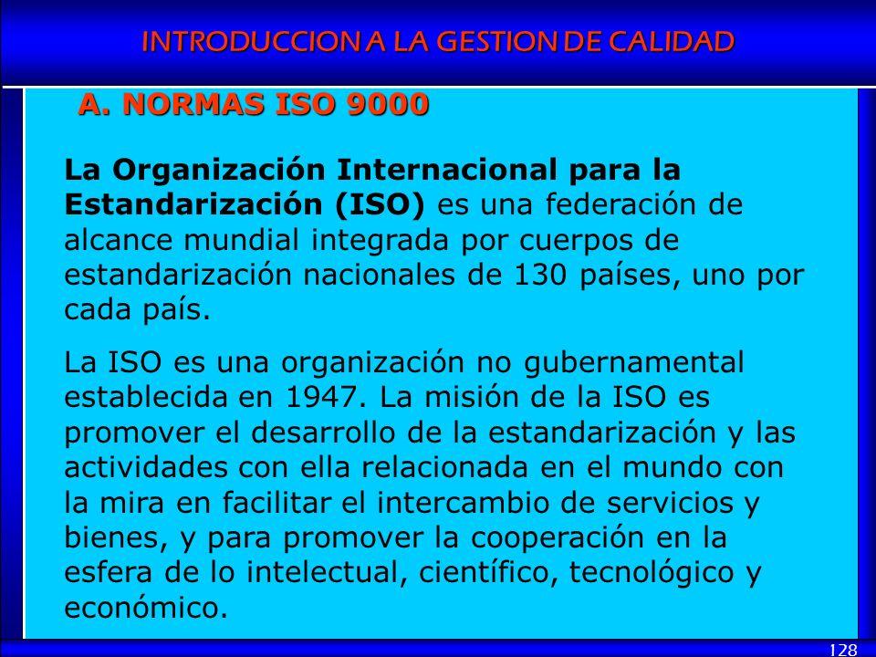 INTRODUCCION A LA GESTION DE CALIDAD 128 A. NORMAS ISO 9000 La Organización Internacional para la Estandarización (ISO) es una federación de alcance m