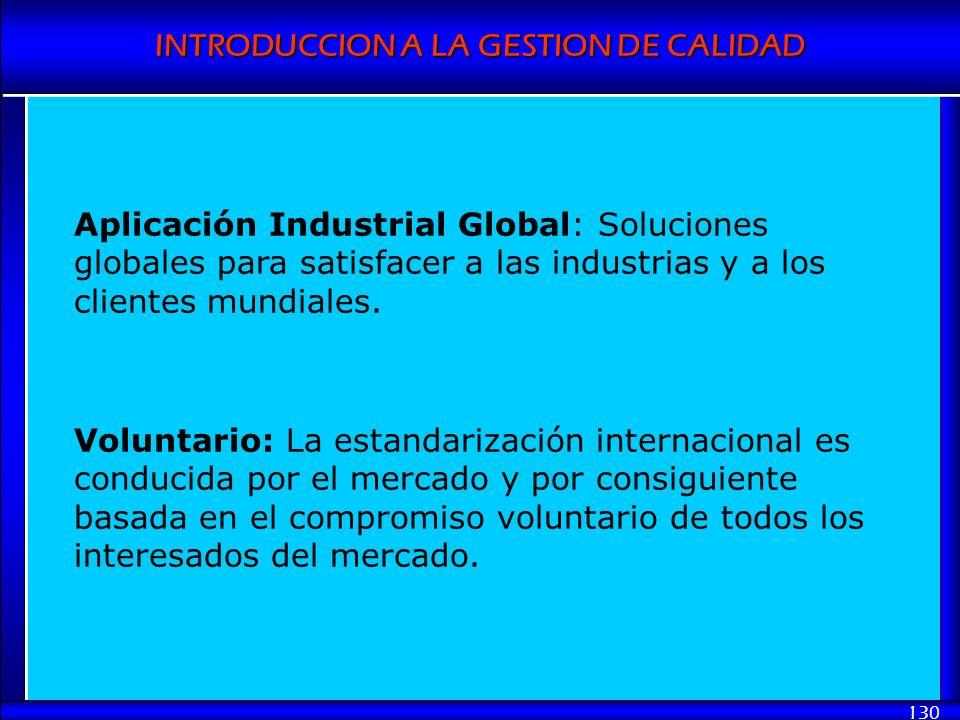 INTRODUCCION A LA GESTION DE CALIDAD 130 Aplicación Industrial Global: Soluciones globales para satisfacer a las industrias y a los clientes mundiales