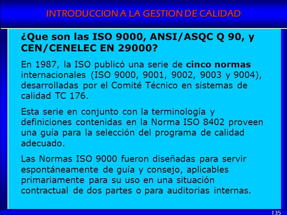 INTRODUCCION A LA GESTION DE CALIDAD 135 ¿Que son las ISO 9000, ANSI/ASQC Q 90, y CEN/CENELEC EN 29000? En 1987, la ISO publicó una serie de cinco nor