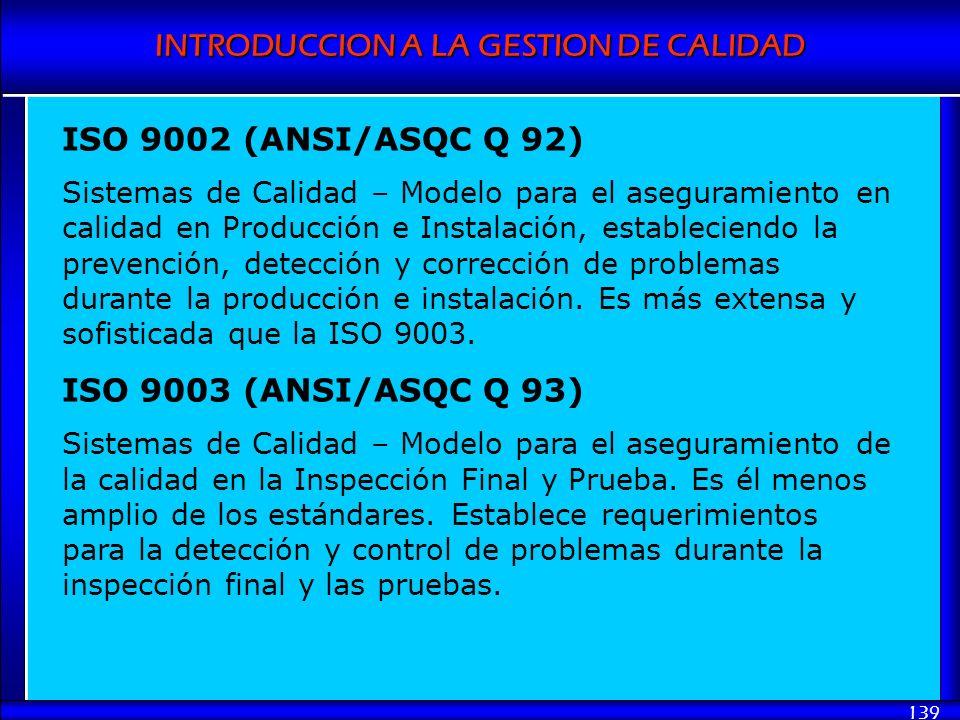 INTRODUCCION A LA GESTION DE CALIDAD 139 ISO 9002 (ANSI/ASQC Q 92) Sistemas de Calidad – Modelo para el aseguramiento en calidad en Producción e Insta