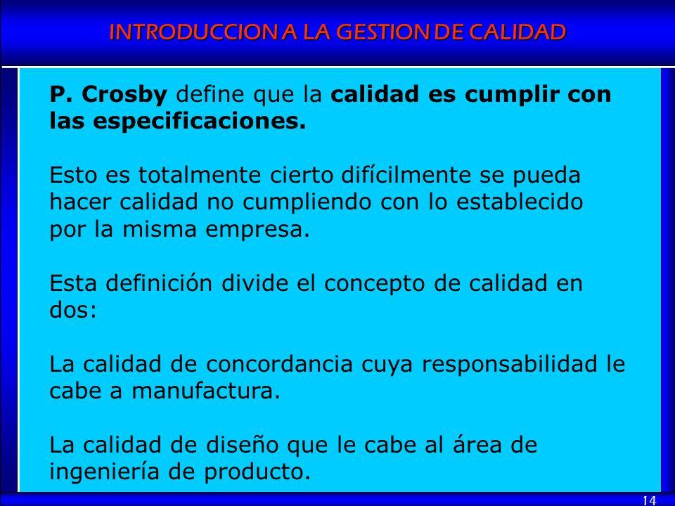 INTRODUCCION A LA GESTION DE CALIDAD 14 P. Crosby define que la calidad es cumplir con las especificaciones. Esto es totalmente cierto difícilmente se