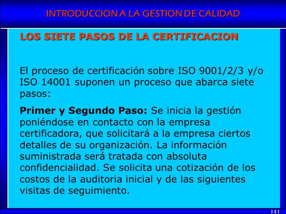 INTRODUCCION A LA GESTION DE CALIDAD 141 LOS SIETE PASOS DE LA CERTIFICACION El proceso de certificación sobre ISO 9001/2/3 y/o ISO 14001 suponen un p