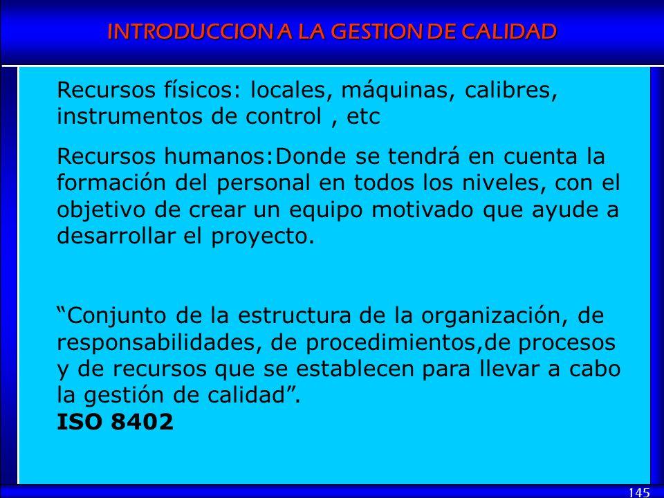 INTRODUCCION A LA GESTION DE CALIDAD 145 Recursos físicos: locales, máquinas, calibres, instrumentos de control, etc Recursos humanos:Donde se tendrá