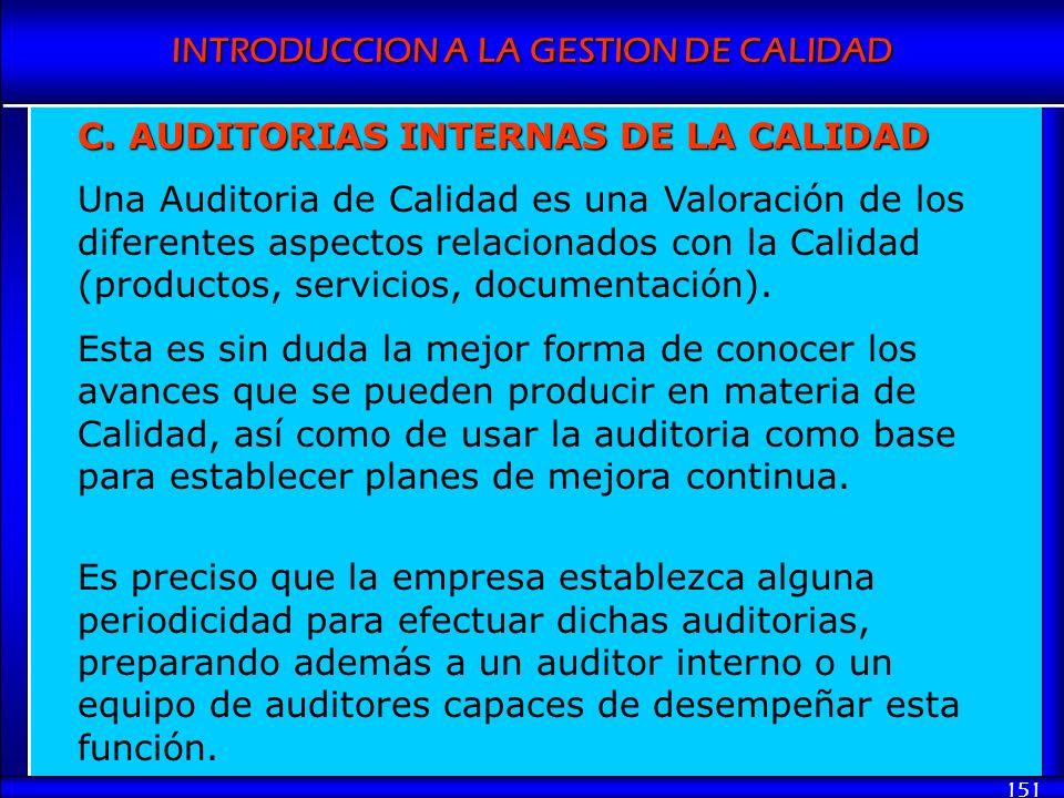 INTRODUCCION A LA GESTION DE CALIDAD 151 C. AUDITORIAS INTERNAS DE LA CALIDAD Una Auditoria de Calidad es una Valoración de los diferentes aspectos re