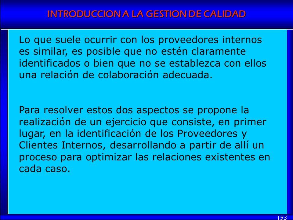 INTRODUCCION A LA GESTION DE CALIDAD 153 Lo que suele ocurrir con los proveedores internos es similar, es posible que no estén claramente identificado