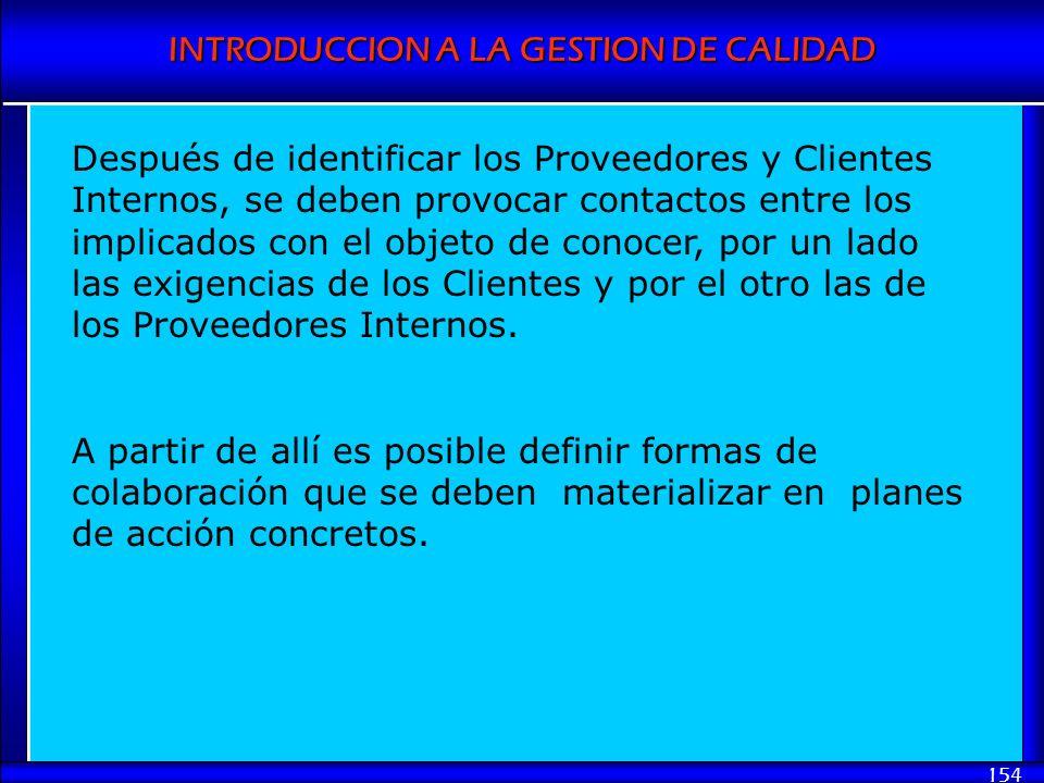 INTRODUCCION A LA GESTION DE CALIDAD 154 Después de identificar los Proveedores y Clientes Internos, se deben provocar contactos entre los implicados