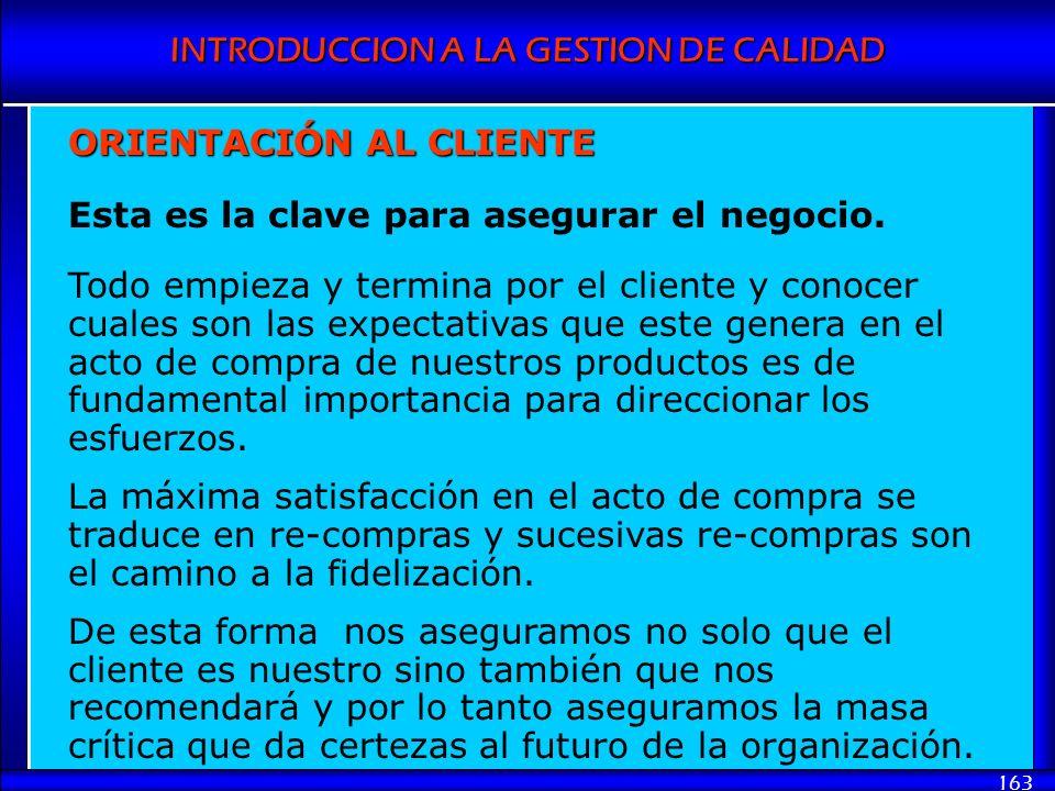 INTRODUCCION A LA GESTION DE CALIDAD 163 ORIENTACIÓN AL CLIENTE Esta es la clave para asegurar el negocio. Todo empieza y termina por el cliente y con