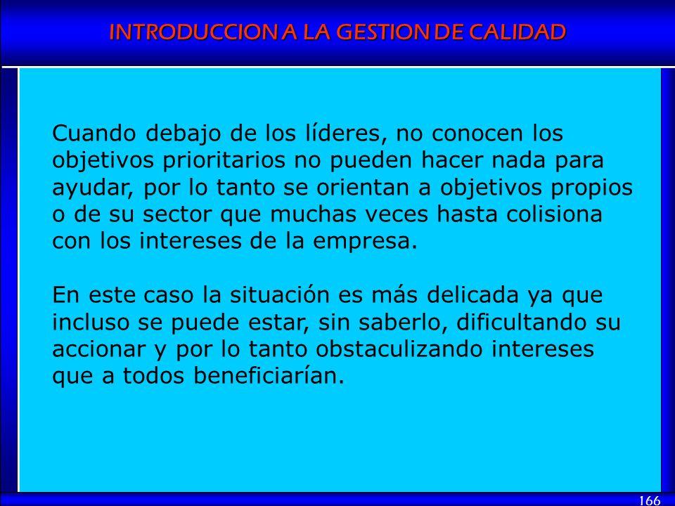 INTRODUCCION A LA GESTION DE CALIDAD 166 Cuando debajo de los líderes, no conocen los objetivos prioritarios no pueden hacer nada para ayudar, por lo