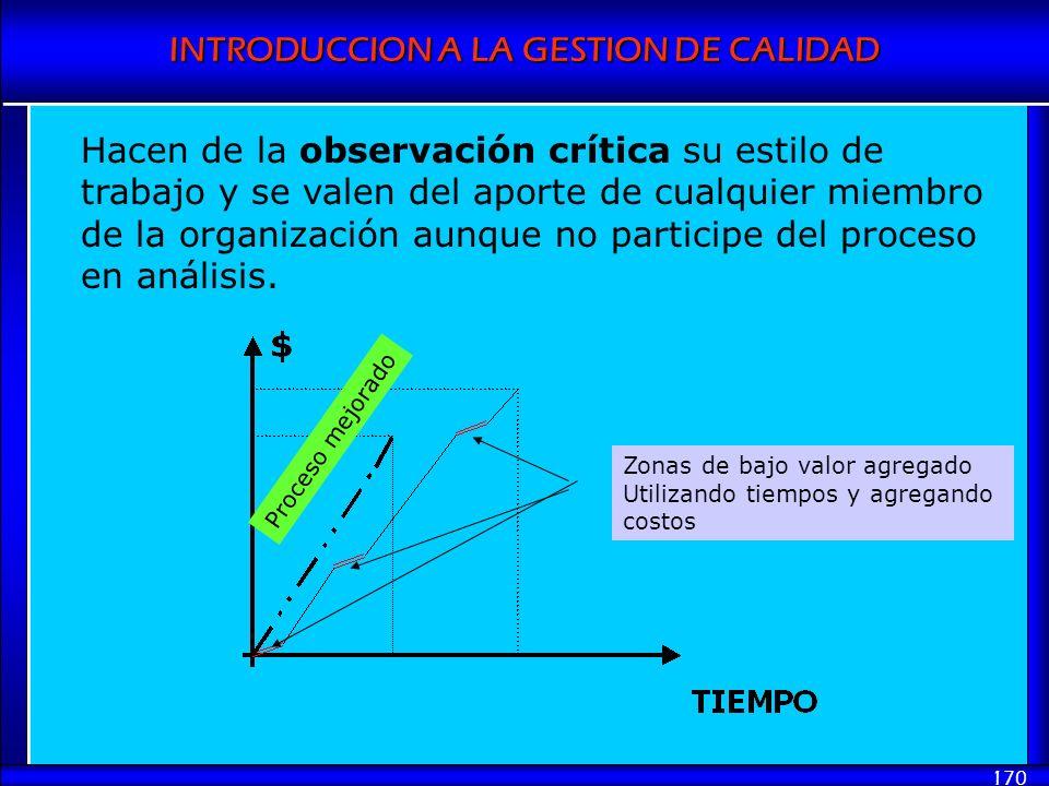 INTRODUCCION A LA GESTION DE CALIDAD 170 Hacen de la observación crítica su estilo de trabajo y se valen del aporte de cualquier miembro de la organiz