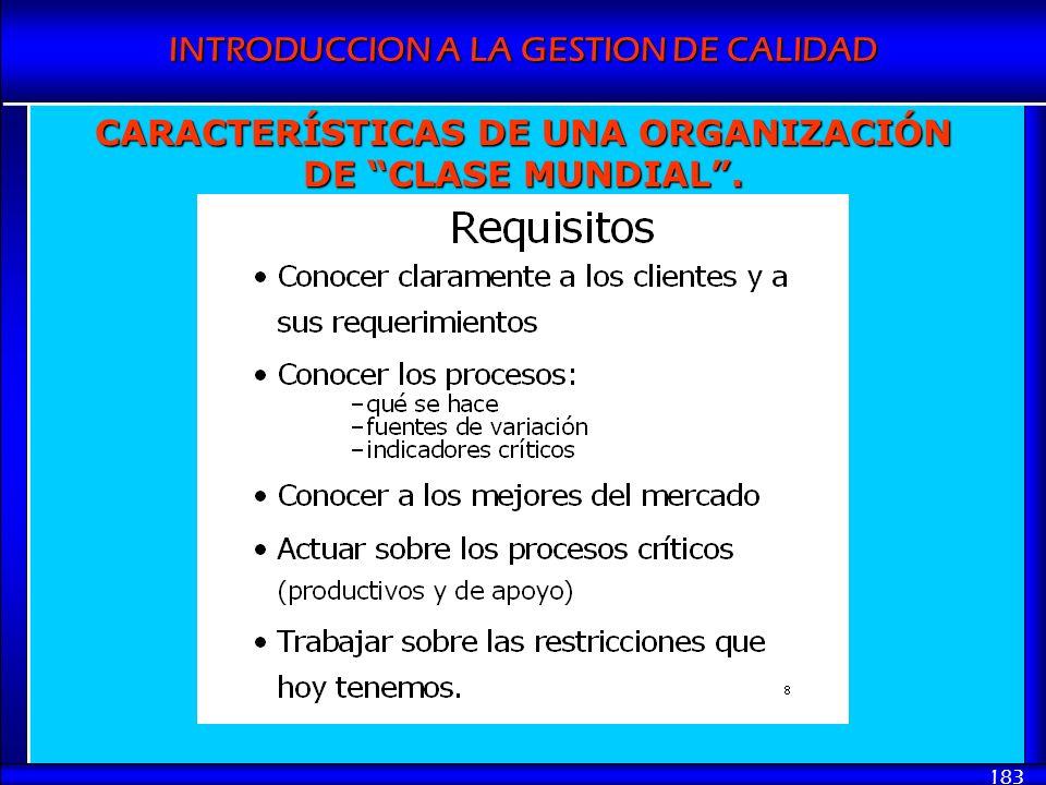 INTRODUCCION A LA GESTION DE CALIDAD 183 CARACTERÍSTICAS DE UNA ORGANIZACIÓN DE CLASE MUNDIAL.