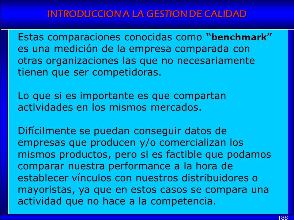 INTRODUCCION A LA GESTION DE CALIDAD 188 Estas comparaciones conocidas como benchmark es una medición de la empresa comparada con otras organizaciones
