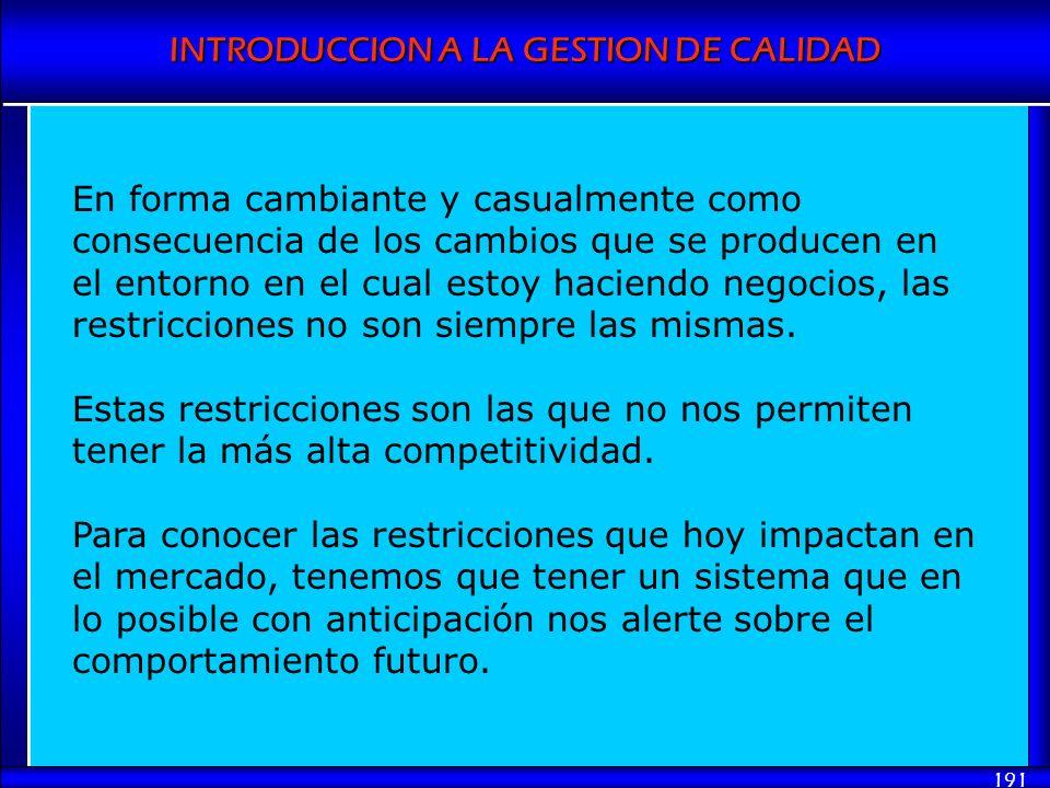INTRODUCCION A LA GESTION DE CALIDAD 191 En forma cambiante y casualmente como consecuencia de los cambios que se producen en el entorno en el cual es