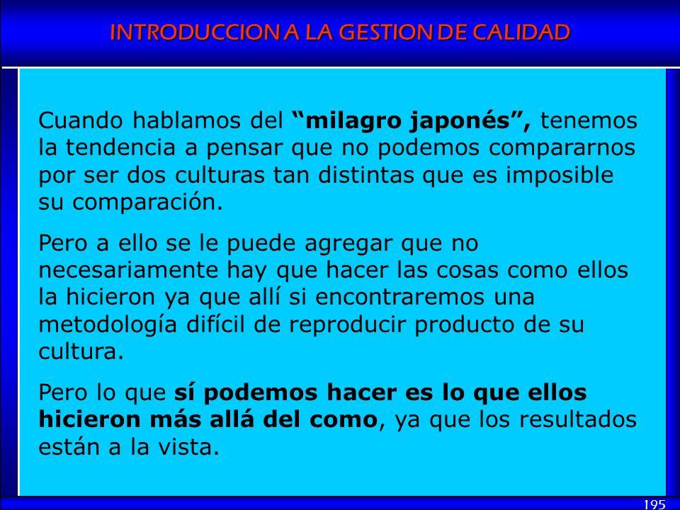 INTRODUCCION A LA GESTION DE CALIDAD 195 Cuando hablamos del milagro japonés, tenemos la tendencia a pensar que no podemos compararnos por ser dos cul