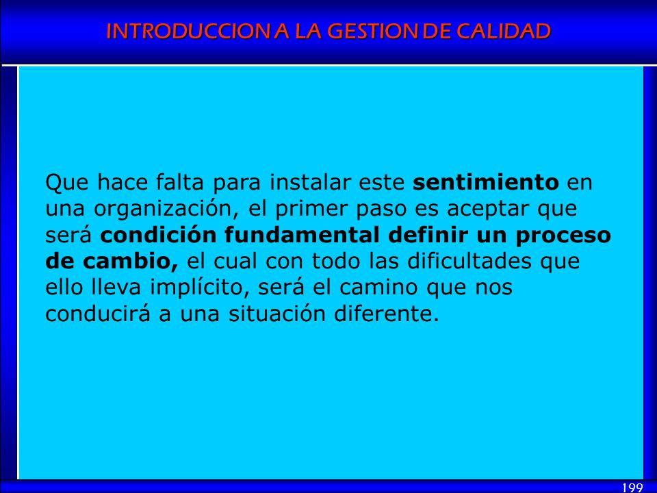 INTRODUCCION A LA GESTION DE CALIDAD 199 Que hace falta para instalar este sentimiento en una organización, el primer paso es aceptar que será condici
