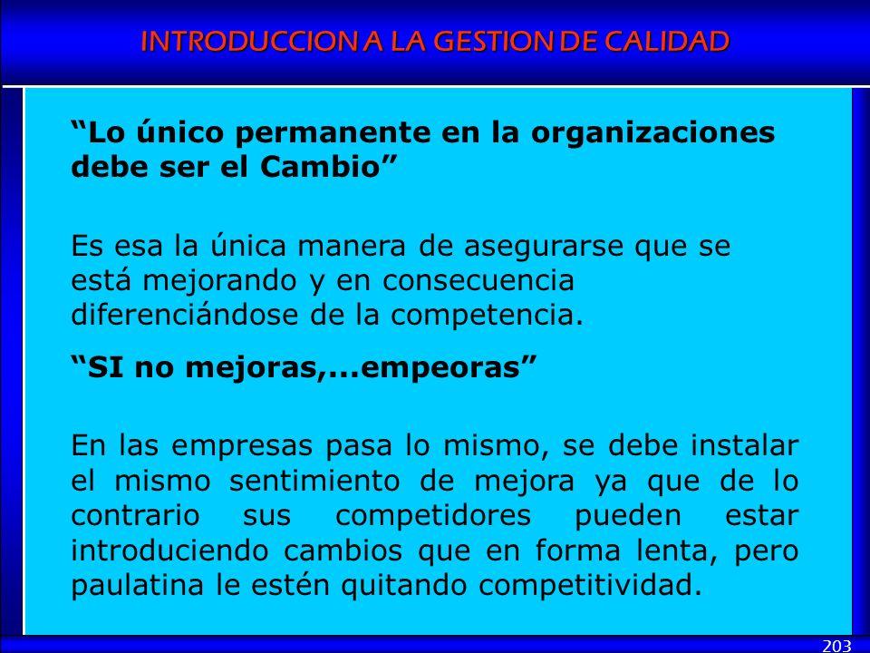 INTRODUCCION A LA GESTION DE CALIDAD 203 Lo único permanente en la organizaciones debe ser el Cambio Es esa la única manera de asegurarse que se está