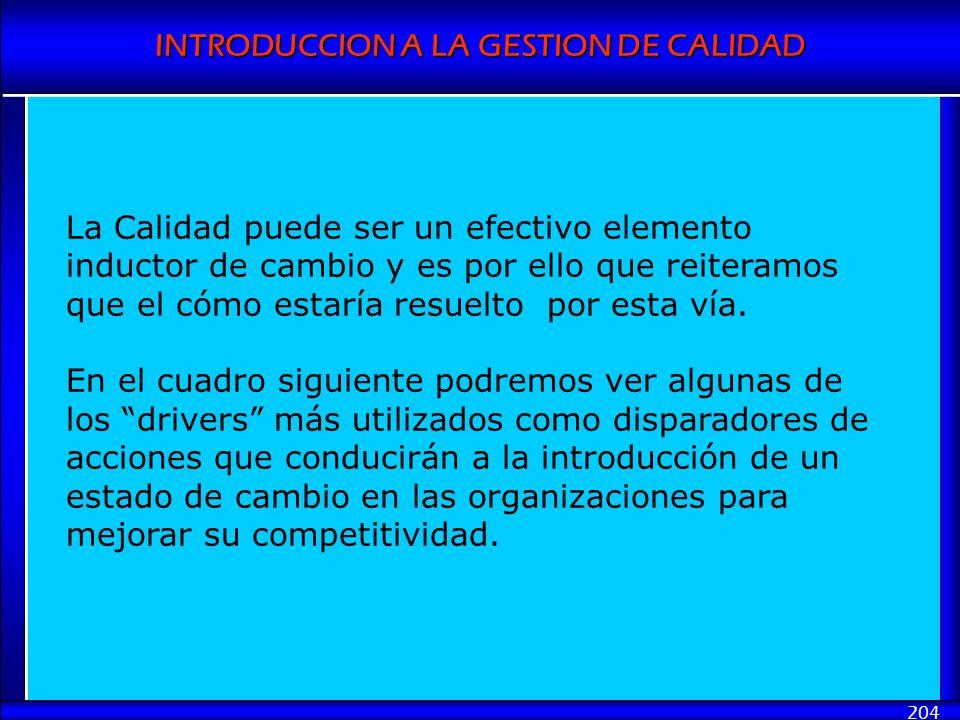 INTRODUCCION A LA GESTION DE CALIDAD 204 La Calidad puede ser un efectivo elemento inductor de cambio y es por ello que reiteramos que el cómo estaría
