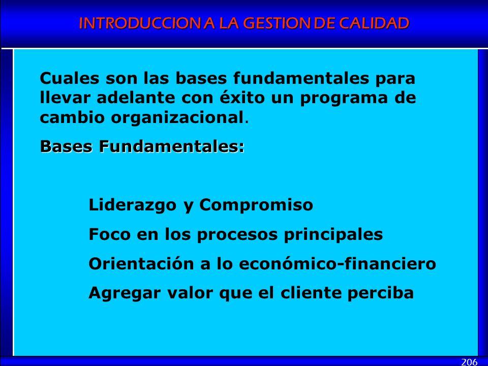 INTRODUCCION A LA GESTION DE CALIDAD 206 Cuales son las bases fundamentales para llevar adelante con éxito un programa de cambio organizacional. Bases