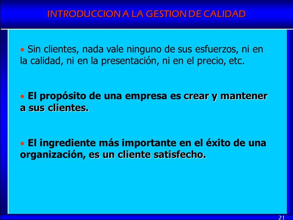 INTRODUCCION A LA GESTION DE CALIDAD 21 Sin clientes, nada vale ninguno de sus esfuerzos, ni en la calidad, ni en la presentación, ni en el precio, et