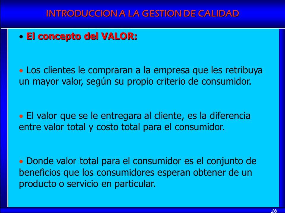 INTRODUCCION A LA GESTION DE CALIDAD 26 El concepto del VALOR: Los clientes le compraran a la empresa que les retribuya un mayor valor, según su propi