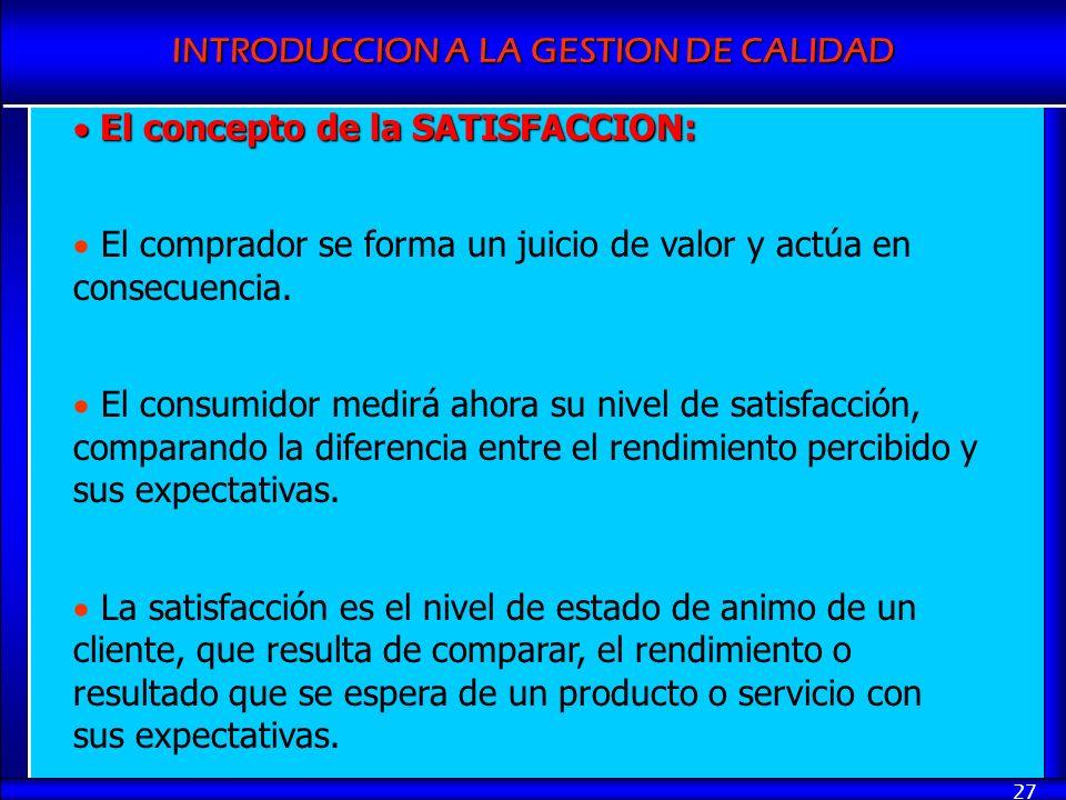 INTRODUCCION A LA GESTION DE CALIDAD 27 El concepto de la SATISFACCION: El concepto de la SATISFACCION: El comprador se forma un juicio de valor y act
