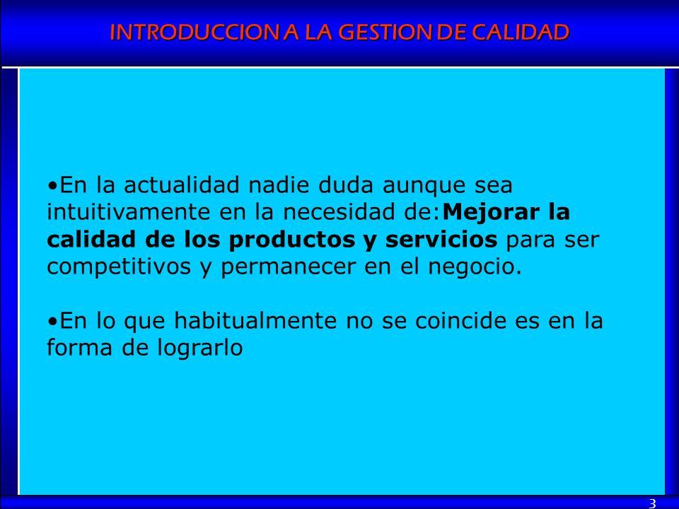 INTRODUCCION A LA GESTION DE CALIDAD 3 En la actualidad nadie duda aunque sea intuitivamente en la necesidad de:Mejorar la calidad de los productos y