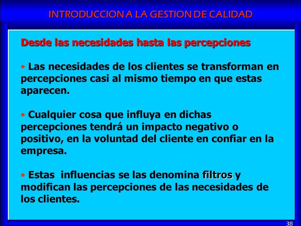 INTRODUCCION A LA GESTION DE CALIDAD 38 Desde las necesidades hasta las percepciones Las necesidades de los clientes se transforman en percepciones ca