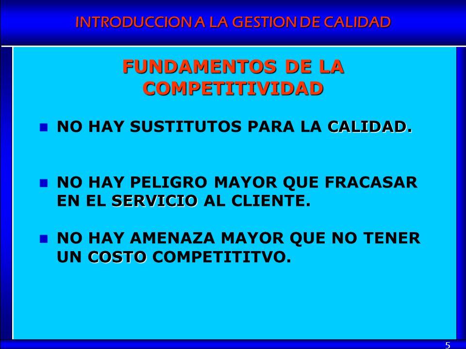 INTRODUCCION A LA GESTION DE CALIDAD 5 FUNDAMENTOS DE LA COMPETITIVIDAD CALIDAD. NO HAY SUSTITUTOS PARA LA CALIDAD. SERVICIO NO HAY PELIGRO MAYOR QUE