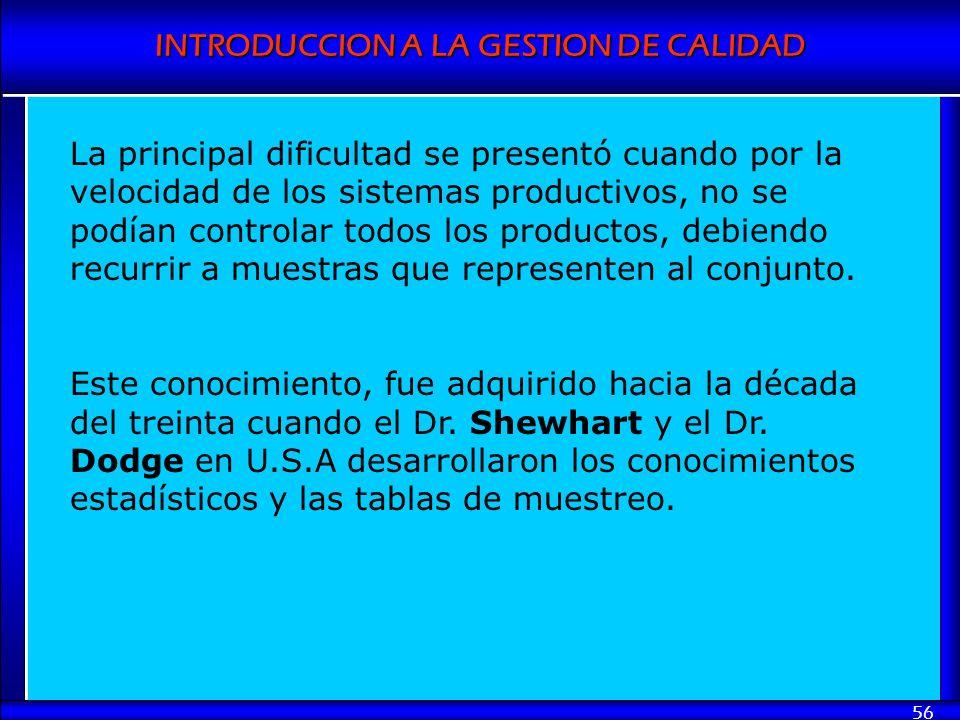 INTRODUCCION A LA GESTION DE CALIDAD 56 La principal dificultad se presentó cuando por la velocidad de los sistemas productivos, no se podían controla