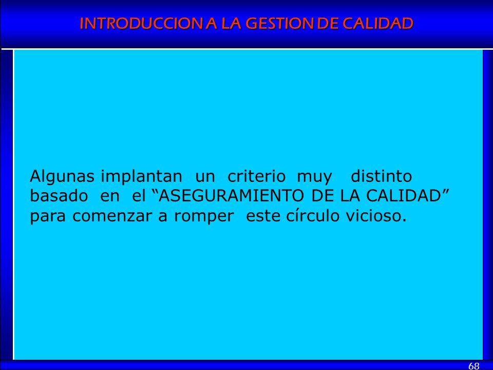INTRODUCCION A LA GESTION DE CALIDAD 68 Algunas implantan un criterio muy distinto basado en el ASEGURAMIENTO DE LA CALIDAD para comenzar a romper est