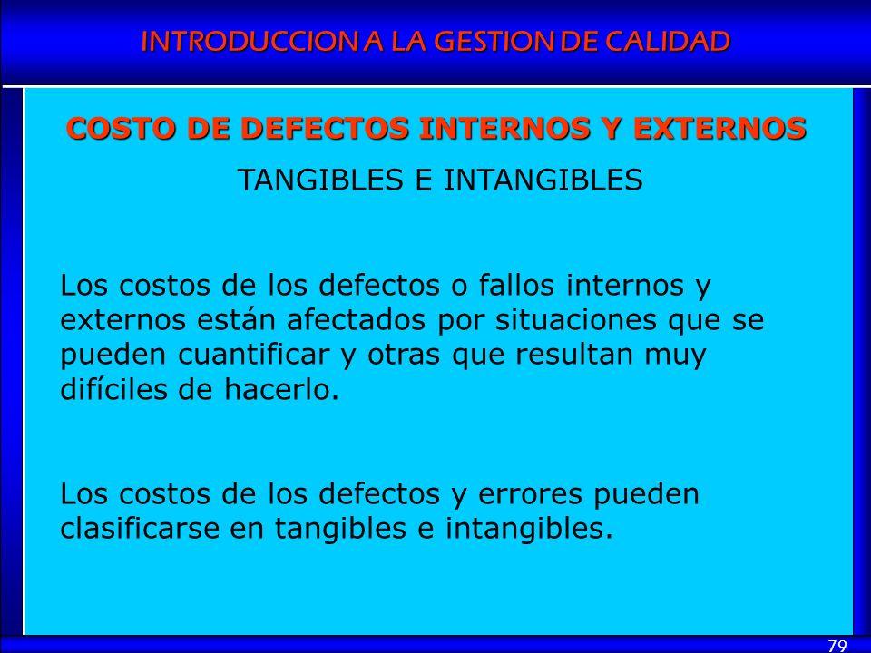 INTRODUCCION A LA GESTION DE CALIDAD 79 COSTO DE DEFECTOS INTERNOS Y EXTERNOS TANGIBLES E INTANGIBLES Los costos de los defectos o fallos internos y e